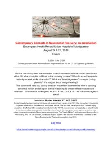 Contemporary Concepts in Neuromotor Recovery: an Introduction @ Encompass Health Rehabilitation Hospital of Montgomery